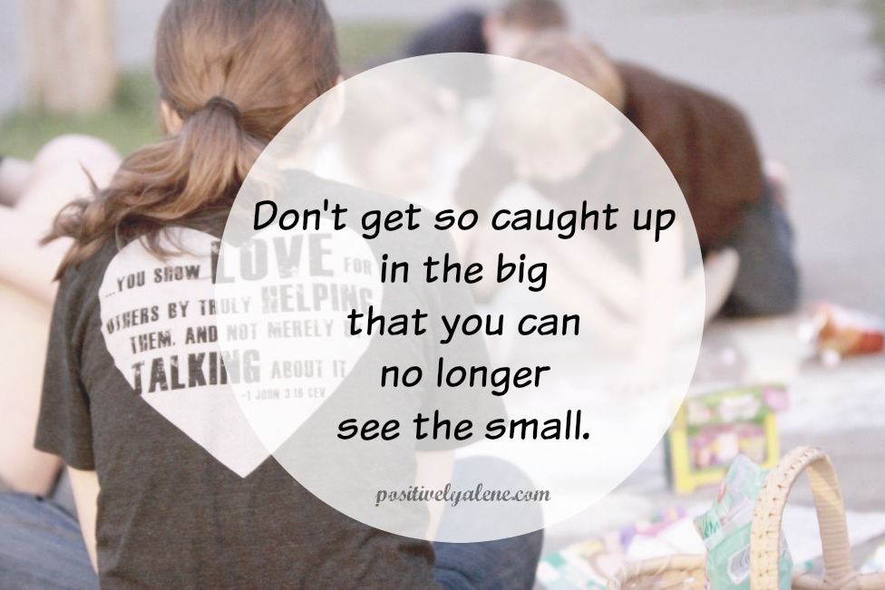 Don't get so caught up in the big that you can't see the small.
